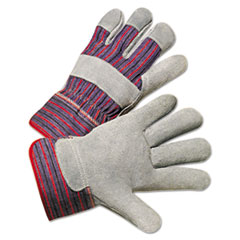 Leather Palm Work Gloves, Gray/Blue/White