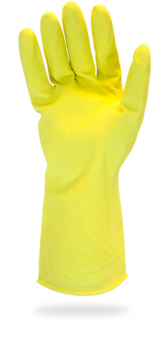 Safety Zone 16 Mil Yellow Flock Lined Latex Gloves 10